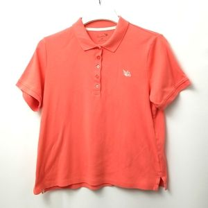 Tradition Womans Polo Size Medium Orange With White Butterfly